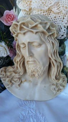 Vintage marble resin Jesus wall plaque