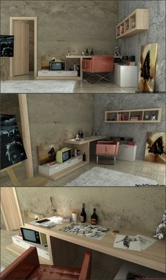 Here, Akcalar strips down the rustic design style to end up with a simple yet rugged artists workspace.