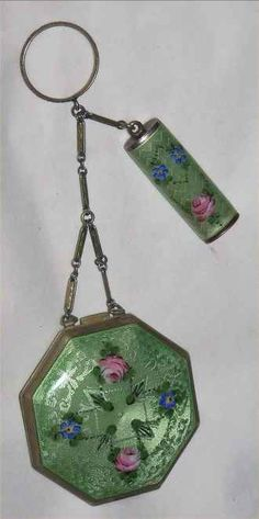Antique Compact & Lipstick chatelaine
