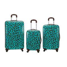 3-Piece Leopard Polycarbonate/ABS Upright Set, Blueleopard