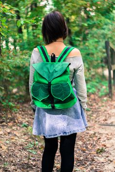 Green Leaf Backpack Boho Rucksack School Backpack by LeaflingoOo. I adore this so much it's insane.