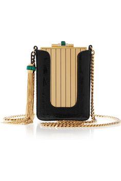 GUCCI  Garcon gold-tone clutch with crocodile pouch