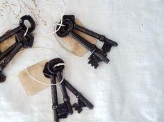 Antique keys on tags.