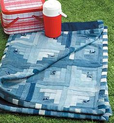 Denim Quilt would be great for picnics!!! And I could actually use all the wasted work jeans of Darrell's I usually just throw in the trash!!!!.
