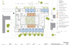 ground floor plan with collective facilities, daycare centre, childcare and assisted living units