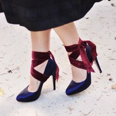Amp up any pumps with this DIY Velvet Ribbon Ankle Wrap Heel tutorial for a whole new look, or to keep your heels in place! Functional + Fab