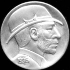 DAVE BOULAY HOBO NICKEL - BEARDED MAN WITH HAT OBVERSE/HIKING HOBO REVERSE - 1936p BUFFALO NICKEL 2 SIDED CARVING Hobo Nickel, Hats For Men, Buffalo, Classic Style, Coins, Auction, Hiking, Carving, Artist