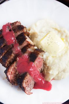 Coffee-Rubbed NY Strip Steak with Berry Sauce & Parsnip Mash - Lexi's Clean Kitchen