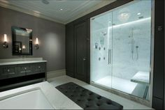 Marble Shower Ceiling Lighting and Appointments