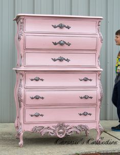 """French chest painted in a Pewtered Pink finish. Gorgeous detail and beautifully crafted construction. This is a large piece, measuring 39""""x21"""" and 58""""t. $495. On display in our booth at University Pickers in Huntsville. Thanks!"""
