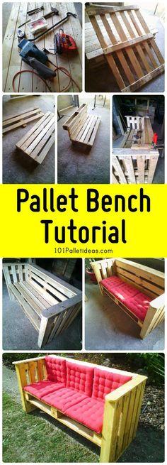 Pallet Bench Tutorial - 101 Pallet Ideas