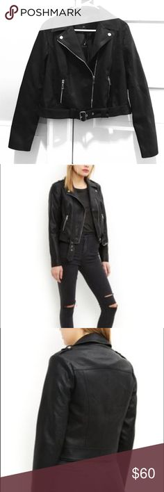 Faux Leather Motorcycle Jacket Never before worn New Look faux leather jacket. UK size 16, US size 12. Asymmetrical zipper, functional belt (however, it is not detachable), lightweight faux leather. Purchased from ASOS. New Look Jackets & Coats
