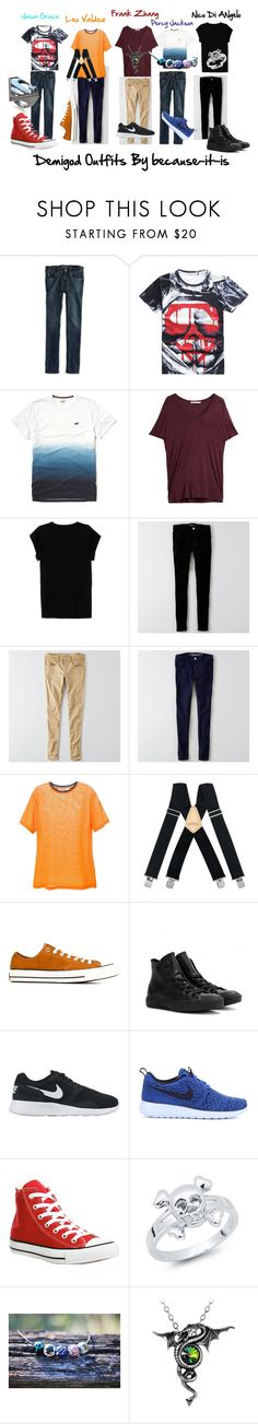 """""""Demigod Outfits"""" by because-it-is on Polyvore featuring American Eagle Outfitters, Hollister Co., T By Alexander Wang, Isabel Marant, McGuire, Converse, NIKE, Bling Jewelry and Noir"""