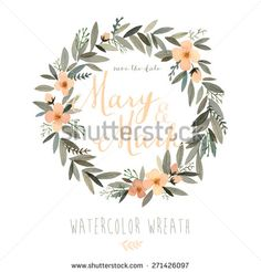 Vector watercolor colorful circular floral wreaths with summer flowers and central white copy space for your text. Vector hand drawn watercolor wreath with flowers. Save the date. Wedding invitation - stock vector