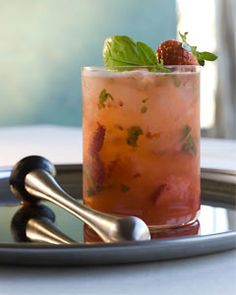 Strawberry Shag—strawberries, vodka, lemon juice, soda and basil for ...