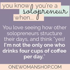 You know you're a solopreneur when...coffee is your drug of choice. #freelancer #entrepreneur
