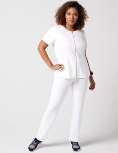 Biker Top in White is a contemporary addition to women's medical scrub outfits. Shop Jaanuu for scrubs, lab coats and other medical apparel. Scrubs Outfit, Lab Coats, Medical Scrubs, Scrub Tops, Welt Pocket, White Jeans, Biker, Peplum, Normcore
