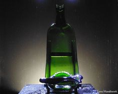 Slumped Bottle Cracker / Dip Dish Single Green by LoveHandyWork Wine And Liquor, Liquor Bottles, Glass Bottles, Slumped Glass, Fused Glass, Cracker Dip, Bottle Slumping, Recycled Bottles, Hostess Gifts