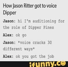 Voice cracks | How Jason Ritter got to voice Dipper