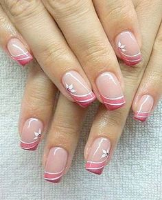 Greater than 20 floral nail patterns to encourage you (web page What can we find out about nail polish? Nail polish and nail polish are used to make nails lovely, enticing, significant and … Types de Clou Nail Tip Designs, Manicure Nail Designs, French Nail Designs, Simple Nail Designs, Acrylic Nail Designs, French Nails, French Manicure Nails, Sparkly French Manicure, Cute Acrylic Nails