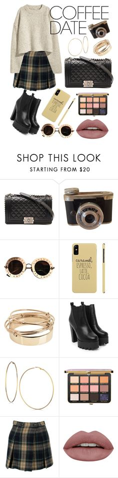 """Need a latte"" by m00nchildx ❤ liked on Polyvore featuring Chanel, Gucci, Valentino, Nasty Gal, GUESS, Vivienne Westwood Anglomania, H&M, skirt, plaid and neutral"