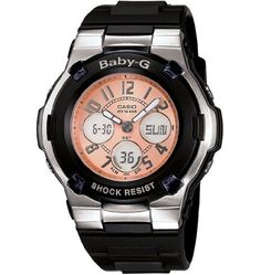 Casio Womens BGA1101B BabyG Shock Resistant Black and SilverTone Analog Sport Watch -- You can get more details by clicking on the image.
