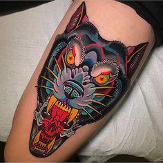Vibrant @miguellepage #inked #inkedmag #wolf