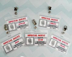 Spy Party ID Badges- Party Favors