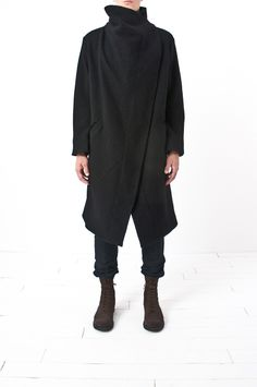 Lost & Found - asymmetric wrap collar belted coat