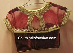 Gorgeous Velvet and Net Blouse Celebrity Sarees, Designer Sarees, Bridal Sarees, Latest Blouse Designs 2014 South India Fashion