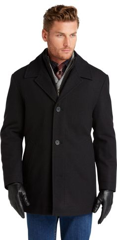 Executive Collection Traditional Fit Storm Collar Car Coat - CLEARANCE