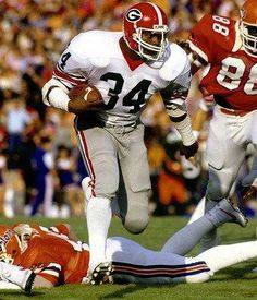 "I remember Herschel vs BYU heading full speed downfield, one defender between him and the goal - the poor kids' face said it all ""why me  God, why me?"" Herschel Walker #34"
