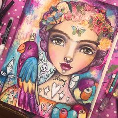 """Finished! Though may try to mute the parrot back a bit and change the flowers in bottom right corner. Love all the colours and """"strength"""" in this though. :) #lifebook2017 #artistsofinstagram #willowingarts #willowing #mixedmedia #mixedmediaart #fridainspired"""