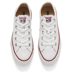 Converse Unisex Chuck Taylor All Star OX Canvas Trainers found on Polyvore featuring shoes, sneakers, converse, white low top, chunky shoes, white canvas sneakers, retro shoes and canvas sneakers