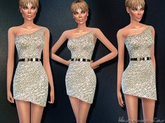 The Sims Resource: Swank Sequin-embellished Dress by Harmonia • Sims 4 Downloads