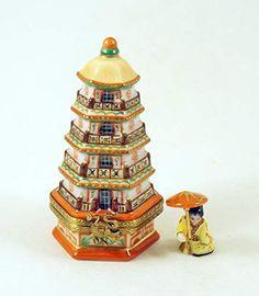 Decorative Bells, Decorative Throw Pillows, Japanese Pagoda, Ceramic Boxes, Pretty Box, Glass Boxes, Tiny Treasures, Mini Things, China Painting
