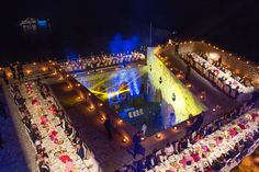 A photo from above of Saturday evening's black tie dinner in Fort Lovrijenac. Our trusted wedding planner Marcy Blum and her talented team even managed to make a dinner party in an eleventh-century fortress feel effortless and seamless.