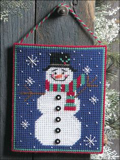 Plastic Canvas - Special Occasions - Winter - Cheery Snowman Picture - #FP00566