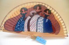 TRIO DE MENINAS EN MARRON Vintage Umbrella, Vintage Fans, Easy Canvas Painting, Party Supplies, Fantasy, Umbrellas, Antiques, Diy, Hand Fans