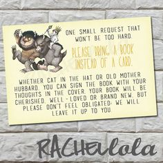 Bring a Book instead of a Card Insert, Where the Wild Things Are, Baby Shower, Instant Download on Etsy, $5.00