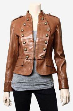 Women Brown zip up Biker Leather Jacket with by customdesignmaster, $149.99