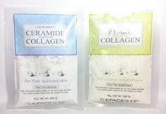 THE FACE SHOP SALON EFFECT MASK POWDER - Pearl Collagen (clear, brighter skin) and Ceramide Collagen (firm, hydrated skin) | $3/each @ The Face Shop in Waimalu, HI. | These fresh mix masks harden into a rubber-like mask (like those from Bliss Spa).