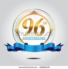 96th anniversary golden logo with blue ribbon and golden ornament