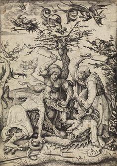 """Daniel Hopfer, Gib Frid: """"Let me go."""" (c. 1510/20 - Etching)"""