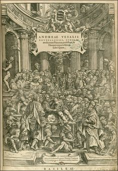 De Humani Corporis Fabrica... Basel, 1543. Woodcut. National Library of Medicine. Andreas Vesalius (1514-1564) [anatomist] Stephen van Calcar and the Workshop of Titian [artists] Vesalius dissects a cadaver in the center of a crowded anatomical theater, while Death hovers over the scene. Before De Fabrica, depictions of dissection had the anatomist presiding at some distance from the cadaver, while lower ranking barber-surgeons did the dirty work of dissecting.