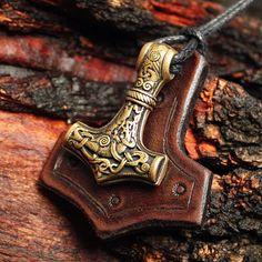 Bronze Thor's Hammer Tiwaz Sowilo Rune Mjolnir by MAGICrebEL