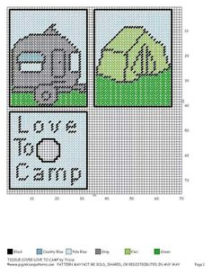 Love to camp tbh… Plastic Canvas Coasters, Plastic Canvas Tissue Boxes, Plastic Canvas Crafts, Plastic Canvas Patterns, Crochet Skull Patterns, Stitch Patterns, Tissue Box Covers, Tissue Holders, Stitch Cartoon