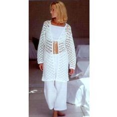 Crochet Pattern Vintage  Long Line Cardigan   Waistcoat Jacket Vest Crop Top Beach Cover up Tunic  Small to Plus Size  INSTANT DOWNLOAD PDF