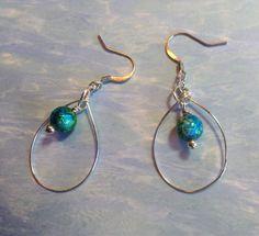 Blue and green glass beaded hoop earrings. Nickel free ear hooks.