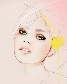 """Meanwhile""  Fashion Illustration Portrait Art Print by Leigh Viner"